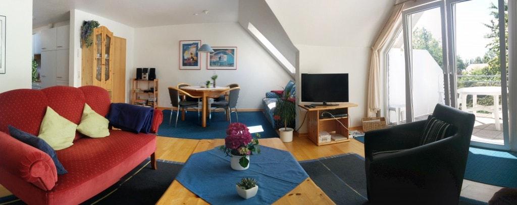 Wohnzimmer Panoramabild - Ferienwohnung Carolinensiel